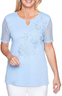 Alfred Dunner Day Dreamer Short Sleeve Keyhole Neck T-Shirt-Womens