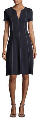 Escada Fit & Flare Seamed Wool-Viscose Dress