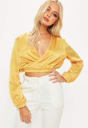Missguided Mustard Satin Wrap Over Crop Top