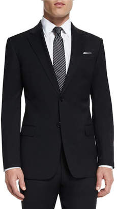 Armani Collezioni G-Line New Basic Two-Piece Wool Suit, Black