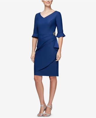 Alex Evenings Embellished Compression Faux-Wrap Dress