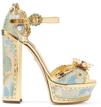 Dolce & Gabbana Keira Jacquard Brocade Platform Sandals - Womens - Gold Multi