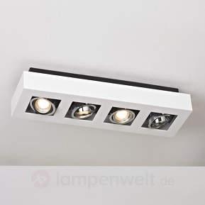 Längliche LED-Deckenleuchte Vince in Wei...
