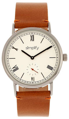 Simplify Quartz The 5100 White Dial, Genuine Camel Leather Watch 40mm