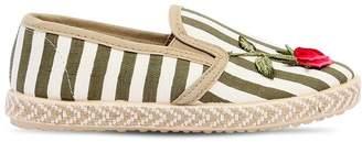 MonnaLisa Striped Linen Canvas Slip-On Sneakers