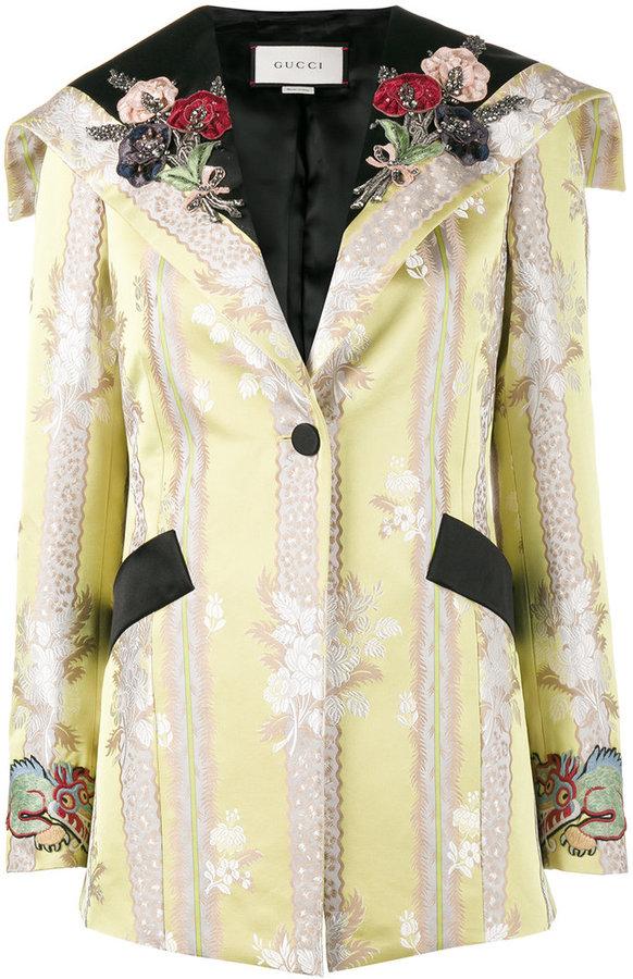 Gucci floral applique jacquard jacket