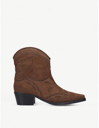 Ganni Low Texas leather heeled ankle boots