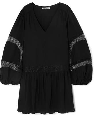 Elizabeth and James Leslie Lace-trimmed Georgette Mini Dress - Black