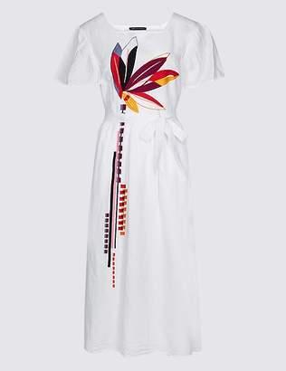 Marks and Spencer Linen Rich Embroidered Skater Midi Dress