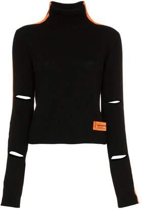 Heron Preston high neck stripe merino cashmere-blend sweater
