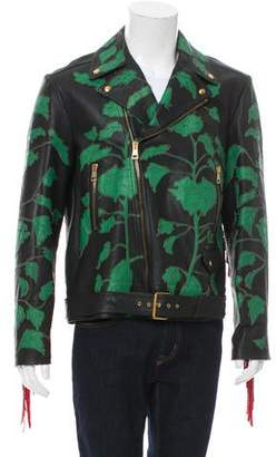 Gucci 2017 Intarsia Leather Biker Jacket