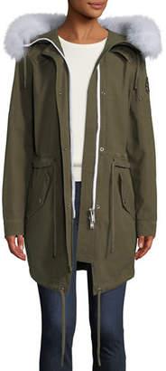 Moose Knuckles Mainville Canvas Parka Jacket w/ Removable Fur Trim