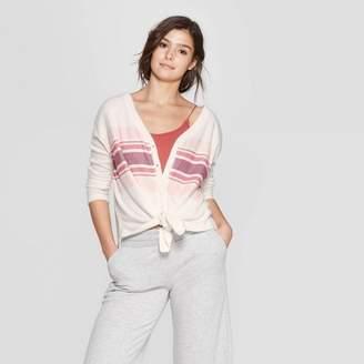 Colsie Women's Long Sleeve Waffle Button-Up Lounge Sweatshirt - Colsie White