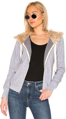 NSF Chada Faux Fur Crop Zip Hoodie