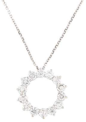 14K Diamond Circular Pendant Necklace