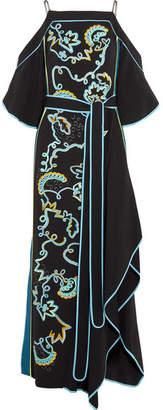 Cold-shoulder Embroidered Cady Gown - Black