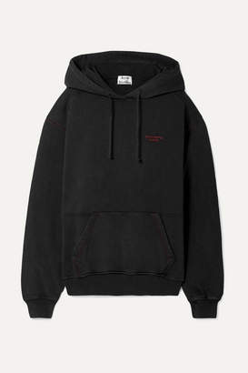 Acne Studios Embroidered Cotton-jersey Hoodie - Black