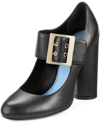 Lanvin Leather Mary Jane 105mm Pump, Black $795 thestylecure.com