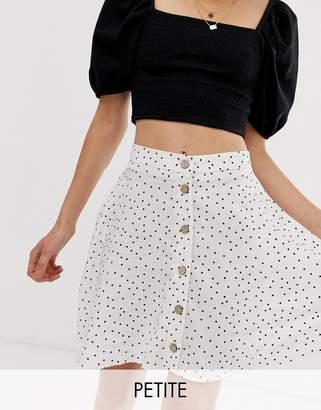 New Look Petite spot print button through mini skirt in white