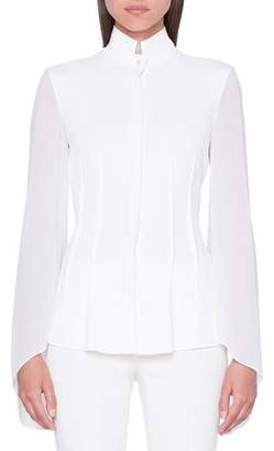 Akris Mock-Neck Flutter-Sleeve Button-Front Georgette Blouse