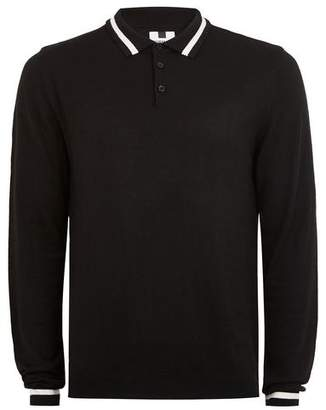 Topman Mens Classic Black Tipped Knitted Polo