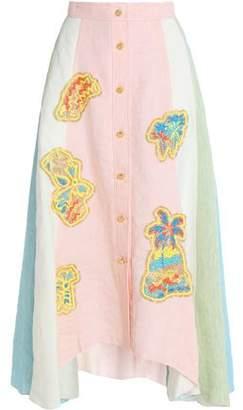 Peter Pilotto Appliquéd Color-Block Linen Maxi Skirt