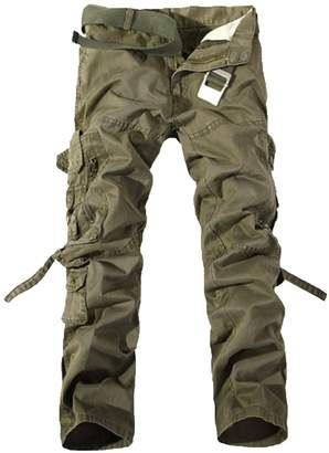 WSLCN Men's Relaxed Casual Cargo Trousers Outdoors Work Wear Utility Multi pockets Waist 84cm