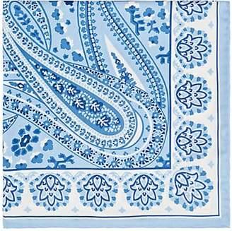 Fairfax MEN'S PAISLEY FLORAL SILK TWILL POCKET SQUARE - LT. BLUE