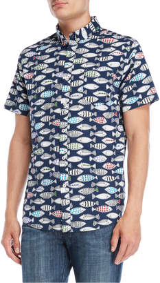 N. Oxford Lads Fish Drawing Button-Down Shirt