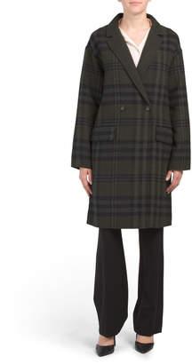 Bernardo Plaid Wool Blend Coat