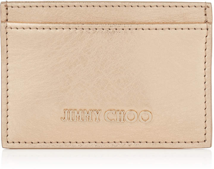 Jimmy Choo UMIKA Gold Etched Metallic Spazzolato Leather Card Holder