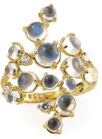 Paul Morelli Moonstone & White Diamond Bubble Cluster Ring, Size 6