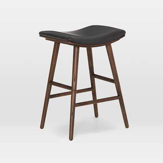 west elm Oak Wood + Upholstered Saddle Bar + Counter Stools