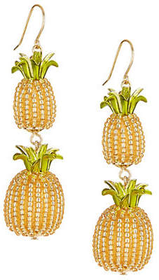 Kate Spade By The Pool Crystal Pineapple Double Drop Earrings