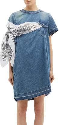 2ae239b37f Sacai Bandana sleeve panel denim dress