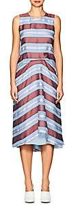 Sies Marjan Women's Lottie Striped Silk Chiffon Midi-Dress - Dk Blush