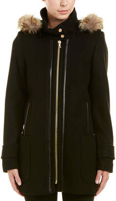 Trina Turk Allyson Leather-Trim Wool-Blend Hooded Duffle Coat