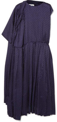 Balenciaga Asymmetric Polka-dot Silk-jacquard Midi Dress - Navy