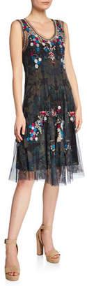 Johnny Was Valeki Mesh Embroidered Sleeveless Dress