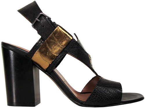 Sigerson Morrison Ostrich Chunky Heel In Black & Bronze