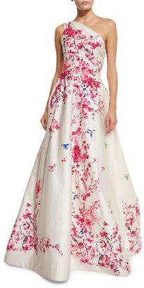 Monique Lhuillier Cherry Blossom One-Shoulder Ball Gown, Cream/Multi $7,495 thestylecure.com