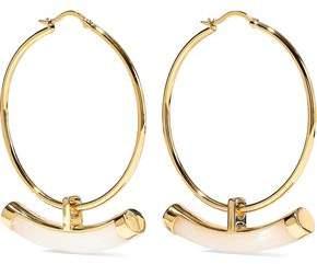Noir Crescent 14-Karat Gold-Plated Resin Hoop Earrings