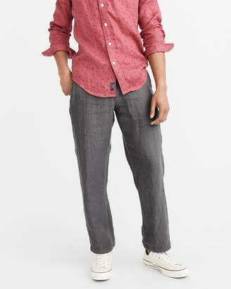 Abercrombie & Fitch Straight Cropped Linen Chinos