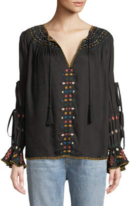 Red Carter Embroidered Ladder-Sleeve Blouse