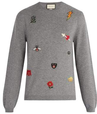 Gucci - Embroidered Wool Sweater - Mens - Grey