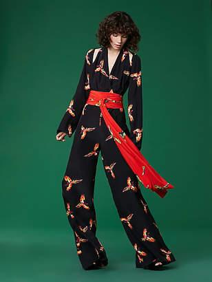 Diane von Furstenberg Long Sleeve Wrap Jumpsuit