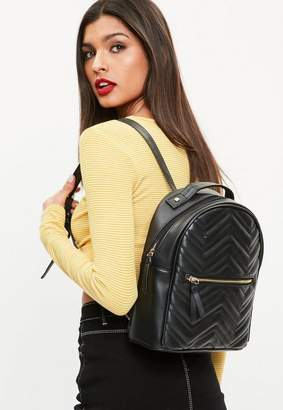 Missguided Black Quilted Rounded Backpack