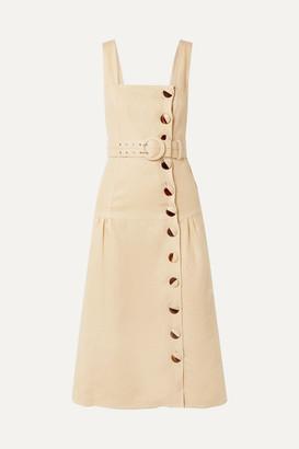 Nicholas Belted Linen Midi Dress - Beige