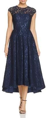 Carmen Marc Valvo Embellished Lace High Low Dress