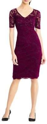 Adrianna Papell Short-Sleeve Lace Sheath Dress
